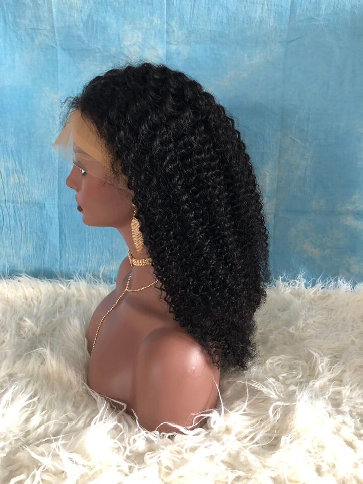 26 Inch 180 Density Kinky Curly Indian Remy Hair Full Lace Wig CL001