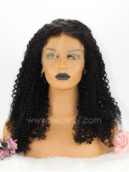 Black Curly Pre-Plucked Pre-Bleached 360 Lace Frontal Wig