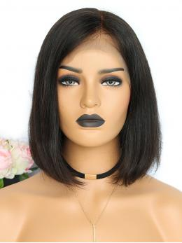 Straight Cut Short Bob Human Hair Wig OB003