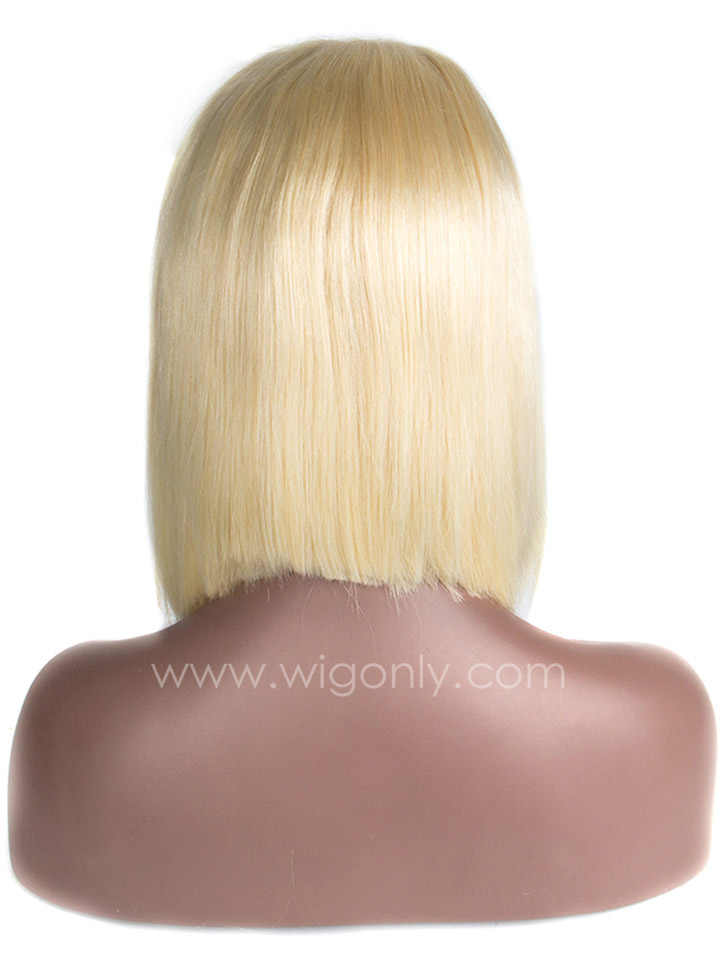 613 Platinum Blonde Short Bob Lace Wig OB008