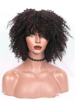 Short Curly Human Hair Full Lace Wigs With Bangs OC001