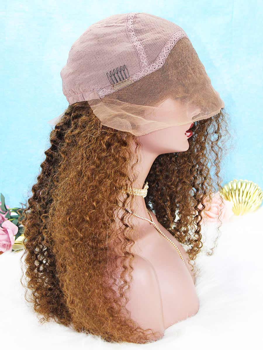 Color 4 Medium Reddish Brown Curly Indian Remy Human Hair Wig OC022