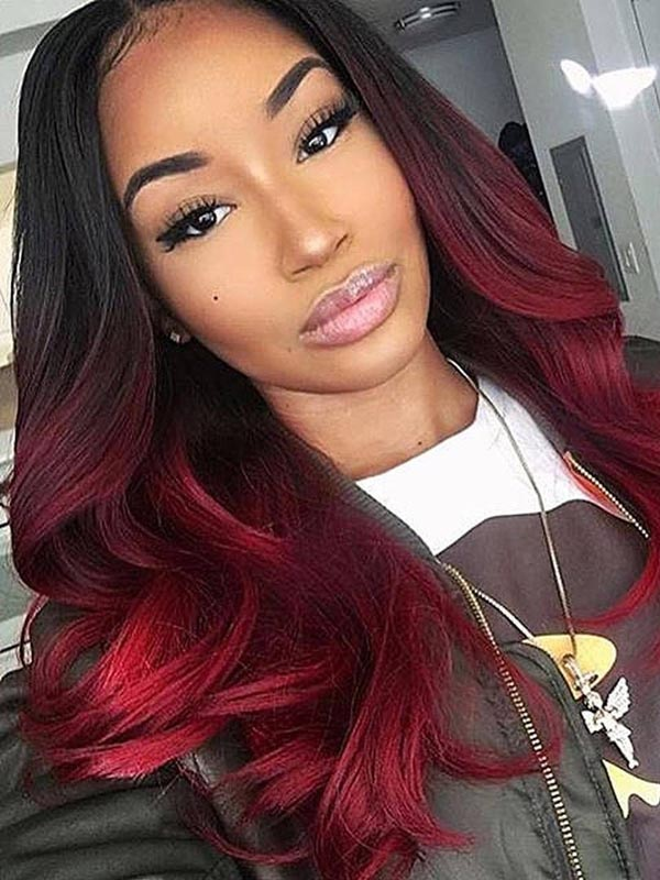 Red Ombre Pre-plucked Glueless Full Lace Human Hair Wig OM002