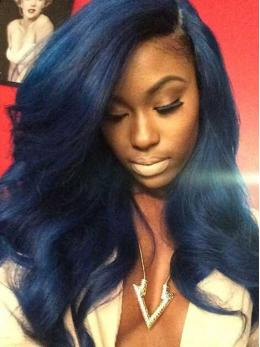 Blue Ombre Pre-plucked Glueless Human Hair Wig OM003