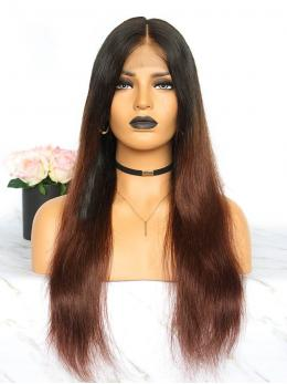 Brown Ombre Pre-plucked Glueless Human hair Lace Wig OM004