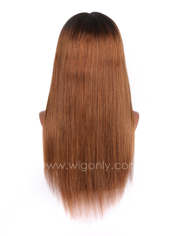 Reddish Brown Pre-plucked Human Hair Lace Front Wig OM005