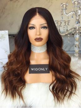 Brown Ombre Wavy Glueless Lace Front Wig OM009