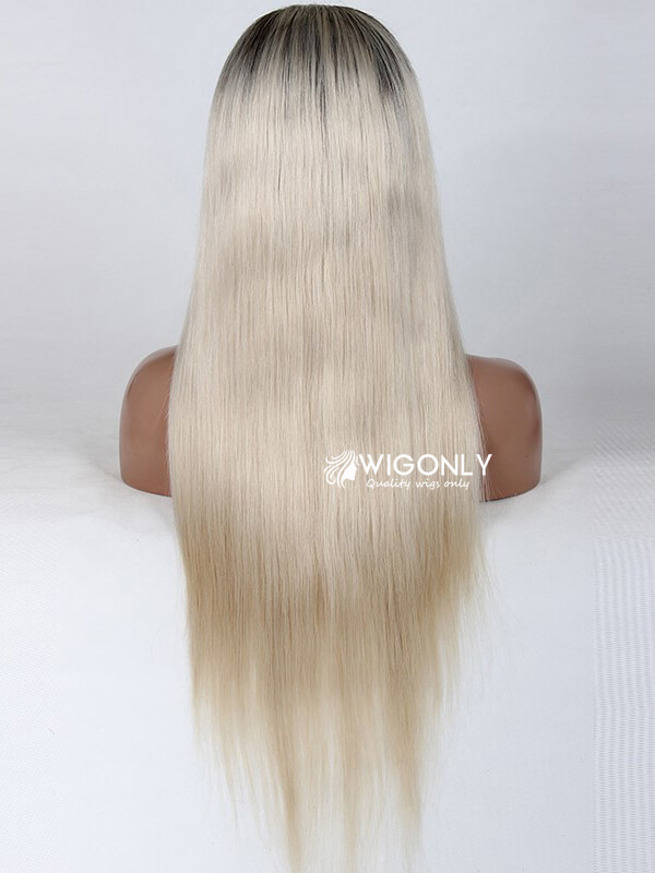 Cream Color Straight Human Hair Lace Wig OM017