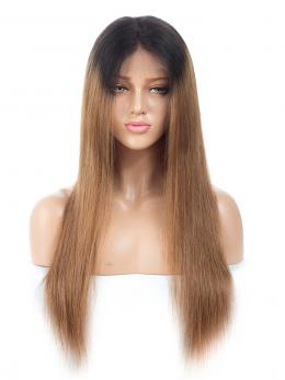 Brown Ombre Straight Human Hair Glueless Lace Wig OMLF002