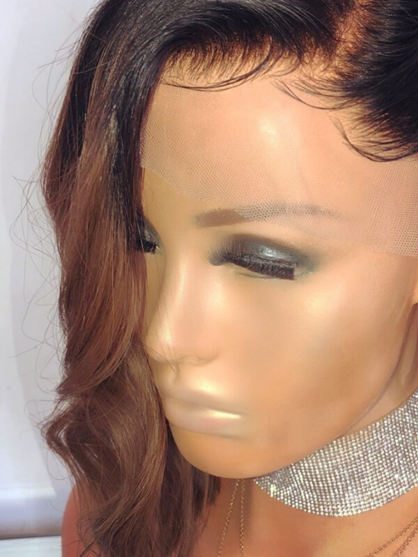 Soft Brown Ombre Side Part Bob Lace Front Wigs OMLF011