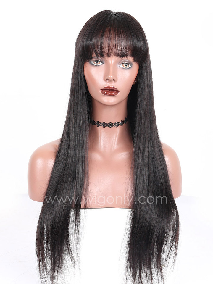Straight Human Hair Lace Wig with Bangs OS005