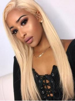 Platinum Blonde Straight Human Hair Full Lace Wig OS008