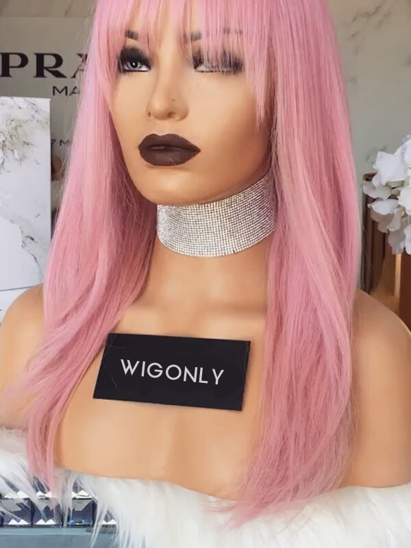 Human Hair Pink Lace Wigs With Bangs OS011