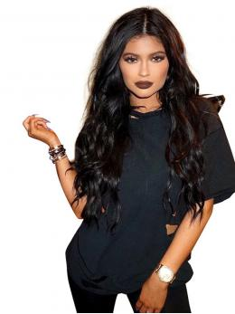 Kylie Jenner Inspried Long Wavy human Lace Front Wig OW001