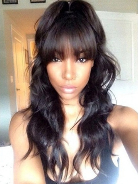 Body Wave Indian Remy Full Lace Wig With Bangs OW009