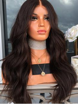 Darkest Brown Long Wavy Full Lace Wig OW011
