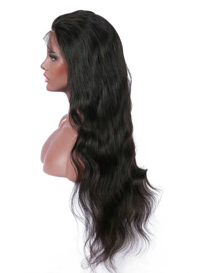 Long Wavy Glueless Human Hair Lace Wig OWLF005