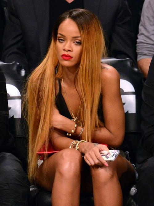Stock Rihanna Inspired Straight Ombre Color Human Hair Full Lace Wig -TBF007