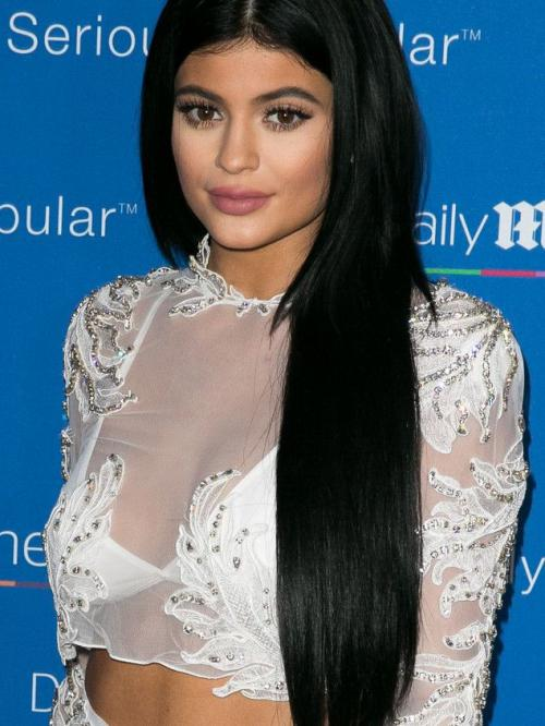 kylie Jenner Inspired Black Long Straight Full Lace Wig-TBF011