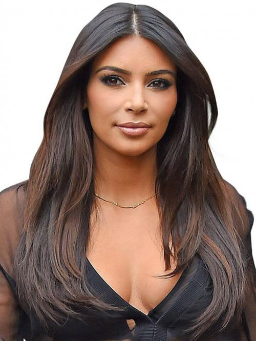 Kim Inspired Straight Human Hair Full Lace Wig With Highlight - TBF014