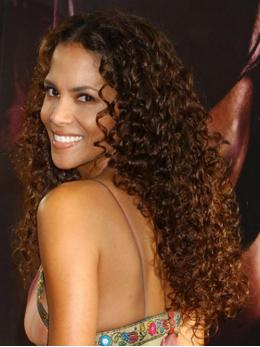 Stock Halle Berry Curly Human Hair Full Lace Wig-Curly-TBF022
