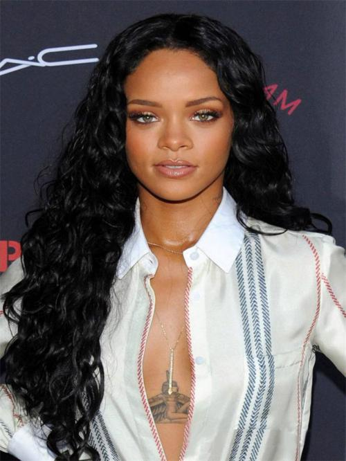 Rihanna Inspired Long Curly Full Lace Human Hair Wig -TBF029