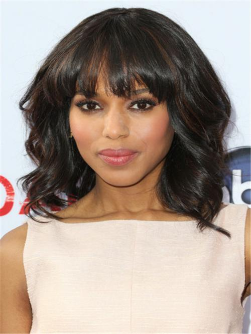 Kerry Highlight Color Wavy Full Lace Wig with Bang - TBF043
