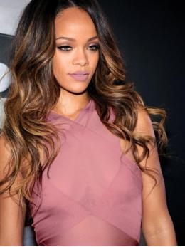 Stock Rihanna Inspired Ombre Full Lace Human Hair Wig With Highlight -TBF044