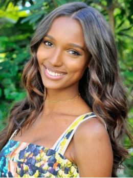 Jasmine Tookes Inspired Beautiful Wavy Human Hair Full Lace Wig With Highlights-TBF047